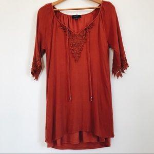 🔥SALE Naïf burnt orange boho crochet mini dress L